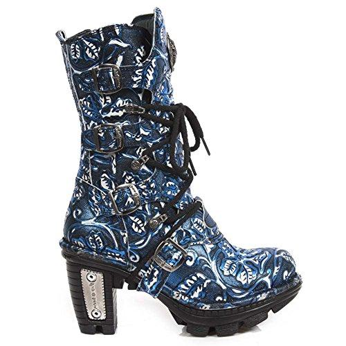 Botas De Couro Novas De Rock Neo Trilha Das Senhoras Azul M.neotr005-s32 Azul, Azul