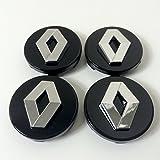 4 schwarze Radkappen-Mittelstücke, mit verchromten Renault-Emblemen, 60 mm im Durchmesser