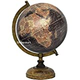 Globeskart Educational/Antique Globe With Brass Antique Arc And Wooden Base / World Globe / Home Decor / Office Decor / Gift Item / 8 Inches (Black Multi Brown)