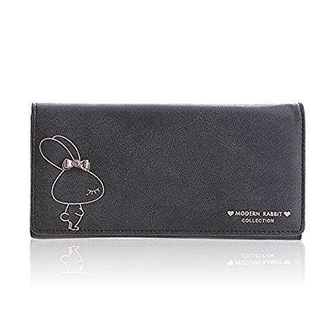Woolala Womens Modern Rabbit Wallet Cute Large Capacity Cash, Phone, Cards Holder Organizer Clutch Long Purse, Black