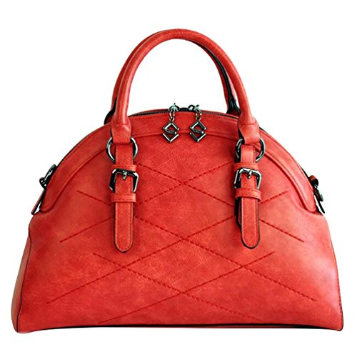 NiSeng Damen Frauen Schultertasche Elegent Umhänge Tasche Uni Handtaschen PU Ledertasche XP Rot