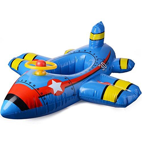 JYCRA - Seggiolino Galleggiante per Bambini, Gonfiabile, con Volante, per Bambini da 1 a 4 Anni, PVC, Blue, 90x100cm