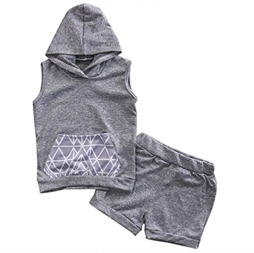 Sommer Babykleidung, Bekleidung Longra Kinder Baby Mädchen Jungen T-shirt ärmelloses Kapuzen-Tops + Shorts kurze Hose Outfits Set(0-24Monate) (70CM 0-6Monate, Gray) (Zebra-druck-mode-tasche)