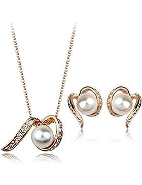 Perlen-Wellen-Anhänger-Halskette & Ohrringe Set mit Swarovski-Kristall, Rose Vergoldet Geschenk