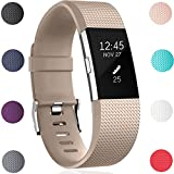 Für Fitbit Charge 2 Armband, HUMENN Charge 2 Armband Weiches Silikon Sports Ersetzerband Fitness Verstellbares Uhrenarmband für Fitbit Charge2 Small Champagner