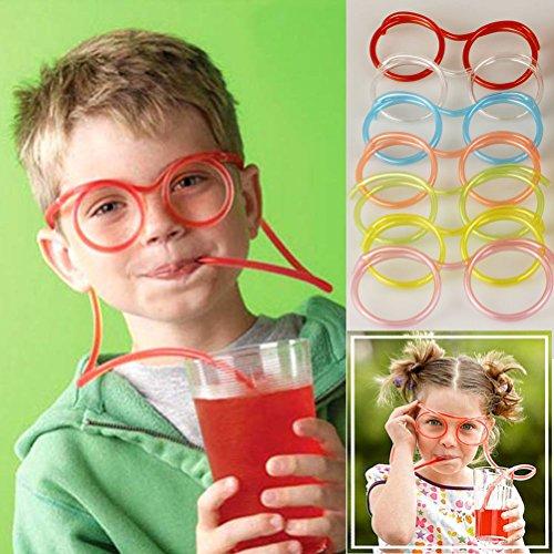 5PCS Wacky Drink Trinkhalm Tube Kinder Crazy Fun Neuheit Flexible Brille Trinkhalm Tube Geschenk Supplies Geburtstag Spiele Party Funky Fun 10 Stück