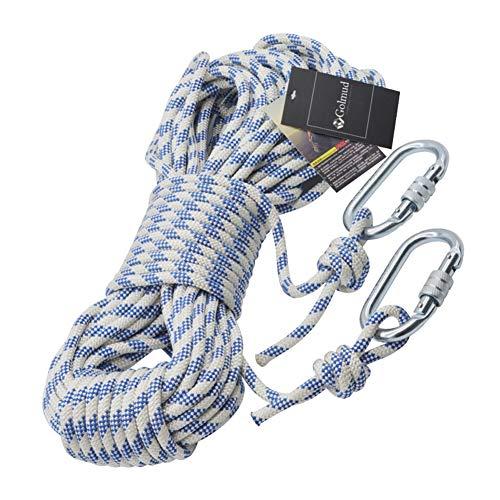 ZWYY Kletterseil, Outdoor-Bergsteigen-Sicherheitsseil Flucht Rettungs Fallschirm Abseilen Schnur 8mm Nylon Utility Seile,Blue,60m -