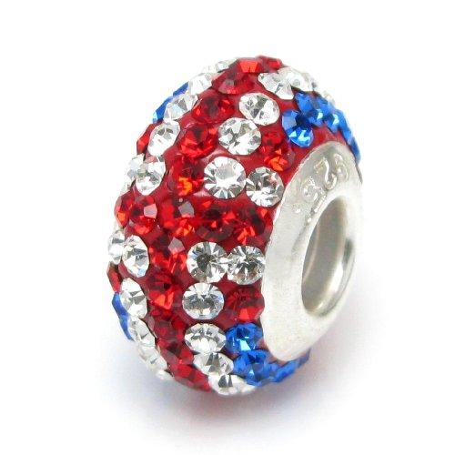 925 Sterling Silber Runde Britische Flagge Ferido Kristall Perle für europäische Charm-Armbänder