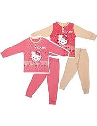 alles-meine.de GmbH 2 TLG. Set _ Hausanzug / Schlafanzug -  Katze - Hello Kitty  - Größe 3 bis 6 Jahre - Gr. 104 bis 128 - 100 % Baumwolle - Langer Pyjama / Sportanzug langärme..
