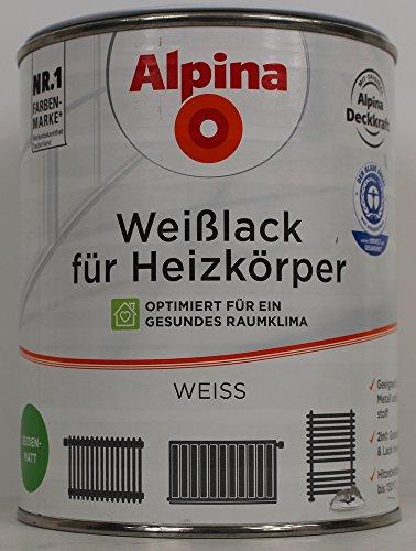 Preisvergleich Produktbild 1L Alpina Weißlack für Heizkörper Acryllack Heizkörperlack weiss seidenmatt