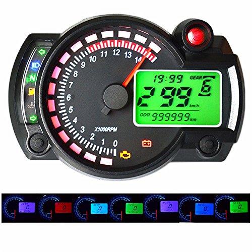 GZLMMY 299 MPH/KPH 7 Color Ajustable Moto Tacómetro Digital Velocímetro LCD Digital Odómetro Universal Para Moto