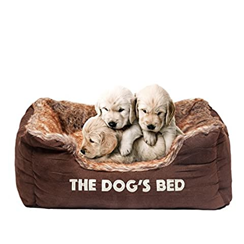 The Dog's Bed, Premium Plush Dog Beds, Brown - Top Quality Faux Fur & Faux Suede, Fully Washable with Removable Pillow, Hyper-Allergenic, High Quality & Extremely Soft & Comfortable – The Ultimate in Pet Luxury:) - Small 50 x 45 x