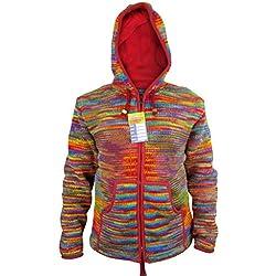 Little Kathmandu de hombre de punto de lana de Tie Dye Festival de Forro Polar Sudadera Con Capucha Para Hombre Rainbow Tie Dye X-Large