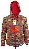 LITTLE KATHMANDU Herren Hippie Tie Dye Wolle Handgestrickt Fleece Gefüttert Festival Jacke Rainbow Tie Dye X-Large