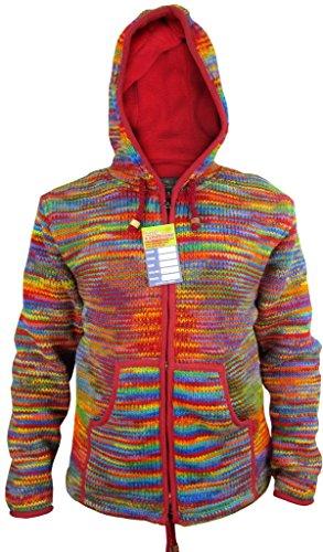 Neon Rainbow Tie Dye (Little Kathmandu Herren Hippie Tie Dye Wolle Handgestrickt Fleece Gefüttert Festival Jacke Rainbow Tie Dye Small)