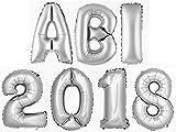 ABI2018 DekoRex® Buchstabenballon Abitur 2018 Folienballon Zahlenballon Luftballon Deko Silber 40cm