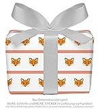3er-Set Geschenkpapier Bögen für Kinder/Kindergeburtstag / Baby/Geburt /Taufe mit FUCHS GESTREIFT ORANGE für Mädchen und Jung`s • Format : 50 x 70 cm