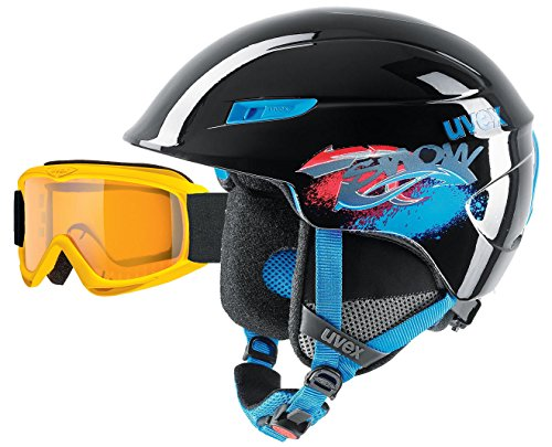 UVEX u-kid Kinder und Junior Skihelm 51-55cm black blue + Skibrille yellow