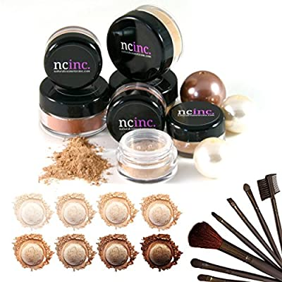 MEDIUM SKIN 14pc Bare Naked Skin Mineral Makeup Set (Medium) by NCinc. + Complete Brush Set. Minerals Makeup Starter Kit