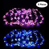 Ghirlanda Fiori LED, Yuccer 8 Pcs Bohemian Corona di Fiori per Capelli, Ghirlande Floreale per Donne Sposa Matrimonio Viaggio Festa