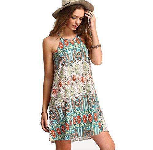 6c3675b8abd Tomatoa Damen Kleid Riemen ultra sexy ethnischen Stil lose Rundhals Kleid  Strand Urlaub Kleid (Grün