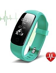 Fitness Tracker HR Lintelek Aktivität Tracker fitness armband mit integrierter Herzfrequenzmessung am Handgelenk , IP67 Wasserdicht fitness uhr mit GPS Schlaftracker Kalorienzähler für Android und iOS