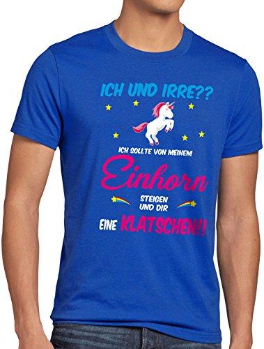 Kostüm Einhorn Schwulen - style3 ICH und IRRE? Einhorn absteigen klatschen Herren T-Shirt Einhörner Fun Spruch JGA Junggesellen-Abschied, Größe:XXL, Farbe:Blau