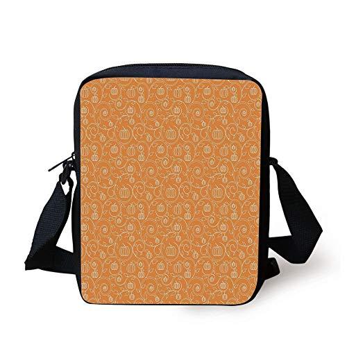 Pumpkin Leaves and Swirls on Orange Backdrop Halloween Inspired,Orange White Print Kids Crossbody Messenger Bag Purse ()