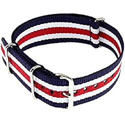 22 mm Nato Watch Strap Nylon Duchzugs Strap Blue/White/Red
