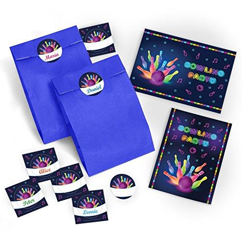 """12 Einladungskarten zum Kindergeburtstag """"Bowling"""" für Mädchen und Jungen incl. 12 Umschläge, 12 Tüten, 12 Aufkleber / Erwachsene / bunte Einladungen zum Geburtstag / Geburtstagseinladungen"""