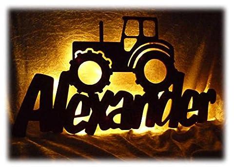 Schlummerlicht24 3d Led Möbel Deko-Licht Trekker Traktor-Lampe mit Namen Für Männer Mann Kinder Jungen Jungs ab 0 1 2 3 4 5 6 7 8 9 Monate Jahre Jähriges Zimmer-Einrichtung