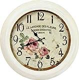 Wand-Uhr Deko-Uhr Küchen-Uhr Rosen-Motiv Landhaus-Stil Vintage ca. 46 cm Durchmesser