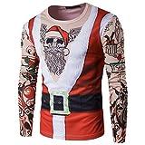ZKOO Uomo Magliette Costume Babbo Natale Maniche Lunghe T-Shirt Xmas Slim Fit Felpa Autunno e Inverno