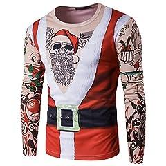 Idea Regalo - ZKOO Uomo Magliette Costume Babbo Natale Maniche Lunghe T-Shirt Xmas Slim Fit Felpa Autunno e Inverno