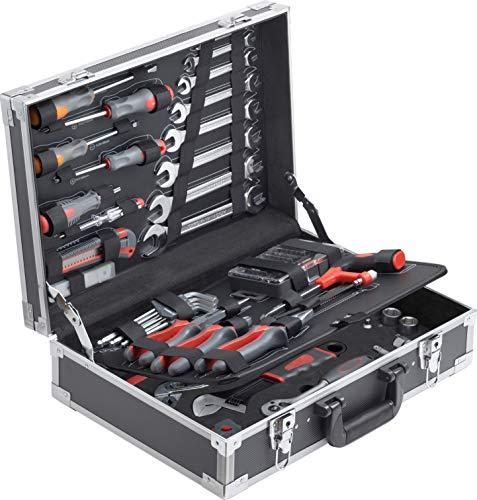 Connex 116-teilig-Stabiler Alu-Koffer Set-Für Haushalt, Garage & Werkstatt/Profi Werkzeugkoffer befüllt/Werkzeugkiste/Werkzeugbox komplett mit Werkzeug / COX566116 116 Teile