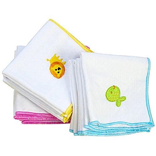 Bluelover 5Pcs Ricamato Fazzoletto Cotone Garza Bambino Tovagliolo Asciugamano Per Il Viso