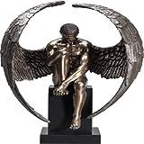 Kare Design Deko Figur Nude Sad Angel, Dekofigur, Dekoobjekt, Dekoration Wohnzimmer, große Skulptur, Engelsfigur sitzend (H/B/T) 63x48x32cm, Braun