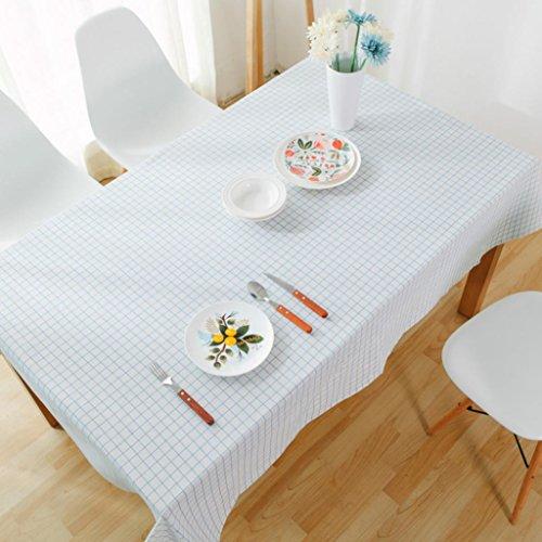 GlobalDeal Direct Grid Muster Tischdecke Home Esstisch Bezug Decor Baumwolle Leinen Rechteck Geschenk–100cm x 140cm, 100cm x 140cm