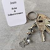 Schlüsselanhänger, Taschenbaumler, Kettenschmeichler, Edelstein Dalmatinerjaspis, Tatting, Occhi