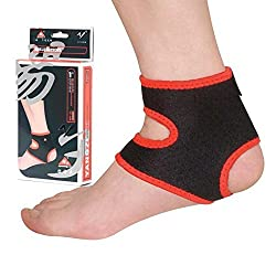 Hooshion Elastic Neoprene Ankle Support Foot Ankle Brace Pad Guard Injury Wrap Sports Ankle Sprain Protector for Men Women - One Size, Black (1)