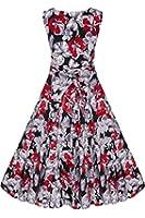 ACEVOG Damen Retro Vintage Party Cocktailkleider Floral Sommerkleid Abendkleider Audrey Hepburn 50er Jahre Rockabilly Kleid mit Blumenmuster Knielang