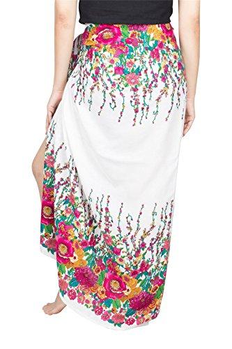 Lofbaz Damen Strand Pareo Sarong Wickeltuch Strandkleid Chabaa Design #4 Weiß und Rosa