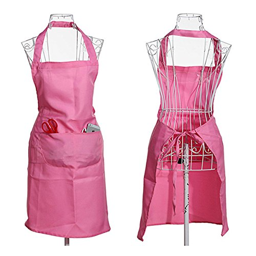 SODIAL(R) Llanura delantal bolsillo delantero para Carnicerias Cocineros Cocina Cocinar Artesania Hornear Camarero - Rosa