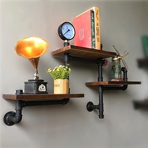 Speicher-einheit-kombination (GYY Vintage industriellen Holz Wand Wand hängen Rohr Regal bücherregal Wohnzimmer bar Divider Blume Stehen (90 * 20 cm))