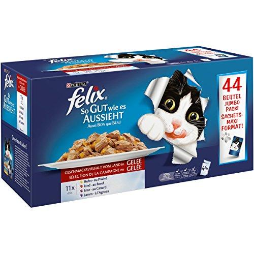 Felix So gut wie es aussieht in Gelee Katzennassfutter (mit Huhn, Rind, Ente, Lamm), 1er Pack (1 x 4,4 kg)