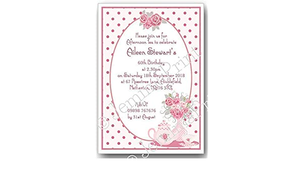 Stationery 10 Personalised Afternoon Tea Birthday Party Invitations
