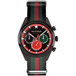 Oxygen Roma 40 Unisex Quartz Watch with Black Dial Analogue Display and Multicolour Nylon Strap