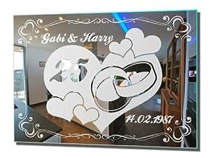 motivspiegel silberhochzeit 2 silberne hochzeit geschenk wandspiegel spiegel mit gravur wandbild. Black Bedroom Furniture Sets. Home Design Ideas