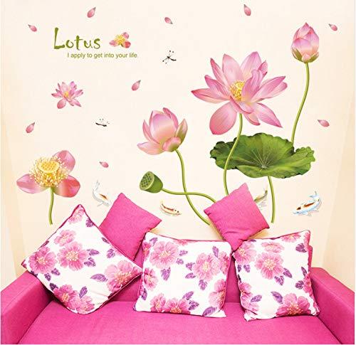 JXSTORE Wandaufkleber für Schlafzimmer Wohnzimmer Mädchen Junge Küche - Lotus Blume