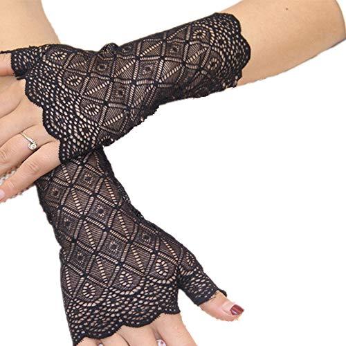 Jelinda Damen Sonnenschutz Handschuhe Kurze Fingerlose Dünne Driving-Handschuhe mit Spitze Blumenmuster UV Schutz für Hochzeit Party Abend ()